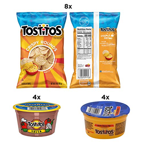 Tostitos Variety Pack, Bite Sized Rounds, Salsa Cups, and Nacho Cheese Dip Cups, (16 Pack)