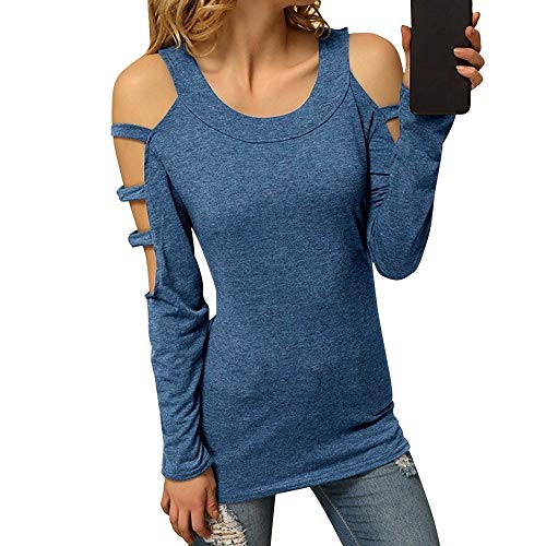 (UONQD Women Sexy Hollow Out Long Sleeve T-shirt Sexy Shirt O-neck Casual Slim Tops(X-Large,Xb-Blue))
