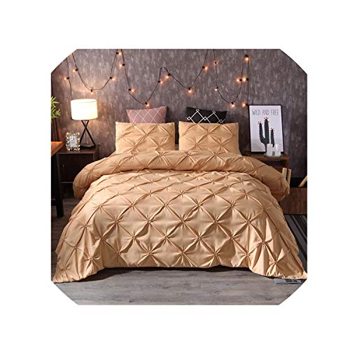 Luxury Duvet Cover Set Queen King Size Pinch Pleat Brief Bedding Sets Comforter Cover Pillow Cases,Yellow,Us Queen 228X228Cm