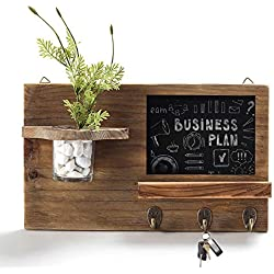 Byher Rustic Wood Wall Mounted Chalkboard & Key Hooks with Glass Jar