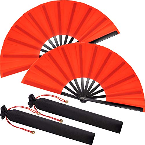 Large Folding Silk Hand Fan Hand Folding Fans Chinese Tai Chi Folding Fan for Men and Women Performance, Dance, Decorations, Festival, Gift (Red, 2 Packs)