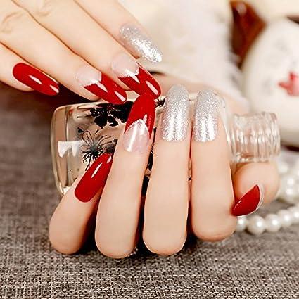 EchiQ - Uñas postizas para manicura (redondas, largas, con cristales rojos y transparentes