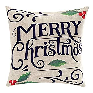Touch Colourful 18 x 18 Inches Merry Christmas Throw Pillow Cover Gifts Holly Xmas Home Decor Design Cotton Linen Cushion Cover for Sofa New Year Gift (B07HFDW7ZC) | Amazon price tracker / tracking, Amazon price history charts, Amazon price watches, Amazon price drop alerts