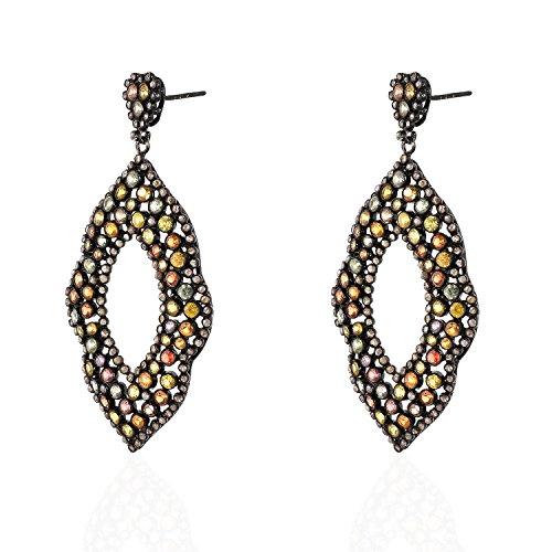 Be You jolie tourmaline multicolore avec rose diamant pierres précieuses véritables rhodium noir plaqué argent sterling concepteur boucle d'oreille pour les femmes