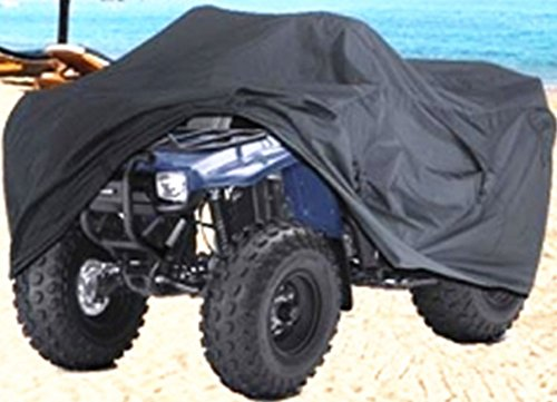 XYZCTEM Waterproof ATV Cover, Heavy Duty Black Canvas Protects 4 Wheeler From Snow Rain or Sun, XL Universal Size Fits Most Quads, Elastic Bottom Can Be Trailerable At High Speeds (Primo Seat Bmx)