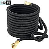 150FT Expandable Garden Hose – PEGZOS Expanding Water Hose with New Improved Triple Latex Core, Extra Strength Outside Webbing, Solid Brass Connector for Car Garden Hose Nozzle (150 ft, Black)