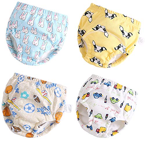 U0U 4 Pack Toddler Potty Training Pants Layered Cotton Training Underwear for Toddlers Boys L