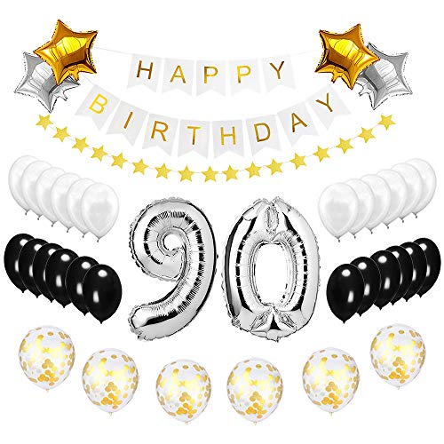 Best Happy to 90th Birthday Balloons Set - High Quality Birthday Theme Decorations for 90 Years Old Party Supplies Silver Black Gold]()