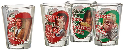 Holiday Shot Glass - ICUP 10794 A Christmas Story Quote Badge Shot Glass 4-pack, Multicolor