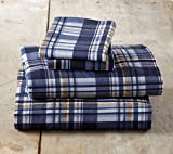 Home Fashion Designs Stratton Collection Extra Soft Printed 100% Turkish Cotton Flannel Sheet Set. Warm, Cozy, Lightweight, Luxury Winter Bed Sheets Brand. (Queen, Blue & Brown Plaid)