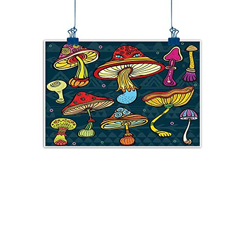 (Sunset glow Artwork Office Home Decoration Mushroom,Set of Stylized Mushrooms Ornate Doodles Swirls Eyes Psychedelic Botany Growth,Multicolor for Bathroom Bedroom Pictures 24