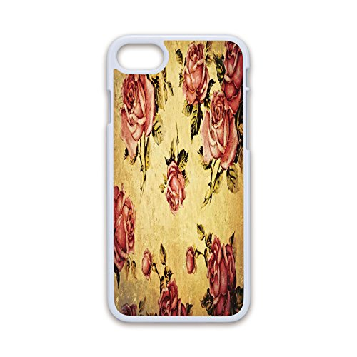 Phone Case Compatible with iPhone7 iPhone8 White Soft Edges 2D Print,Roses Decorations,Old Fashioned Victorian Style Rose Pattern with Dramatic Color Boho Art Design,Cream Pink Green,Hard Plastic ()