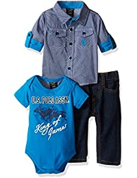 U.S. Polo Assn. Boys' 3 Piece Long Sleeve Fancy Sport Shirt, T-Shirt Or Creeper, and Denim Jean Set