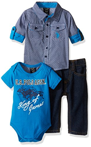 U.S. Polo Assn. Baby Boys' 3 Piece Long Sleeve Fancy Sport, T-Shirt or Creeper, and Denim Jean Set, 0138-Multi Plaid, 12M
