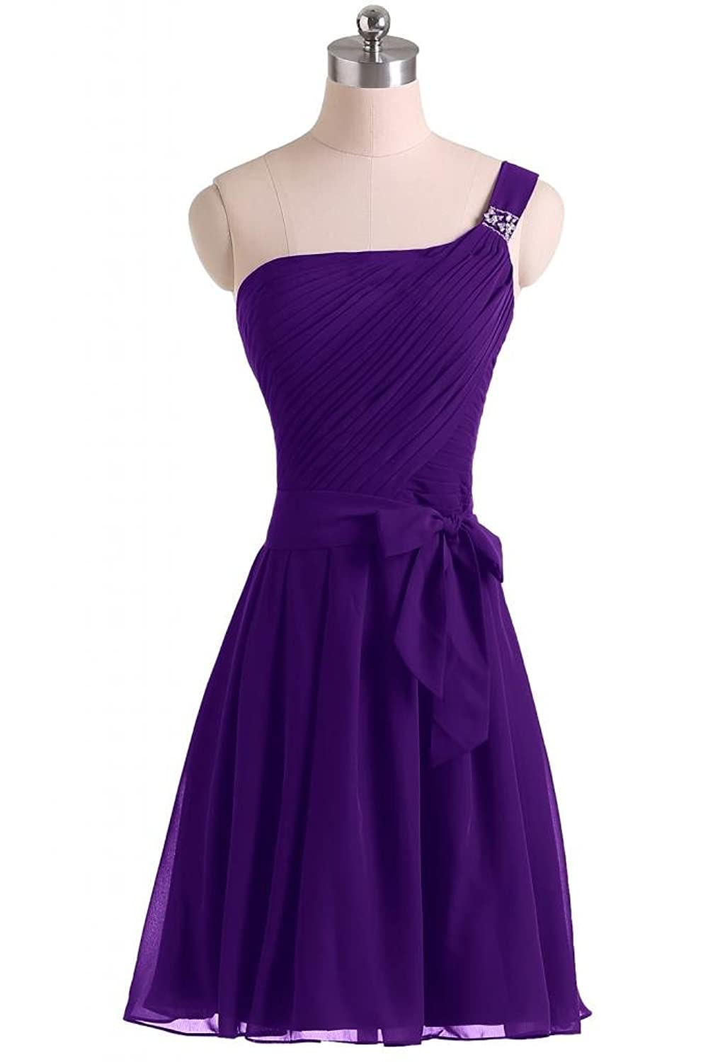 Sunvary Woman Simple Cocktail Homecoming Dresses One Shoulder Chiffon Bridesmaid Gowns