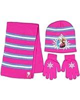 Disney Frozen 3 Piece Beanie Set Knit Hat Gloves and Scarf Girls' One Size