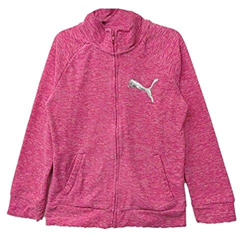 PUMA Girls Hot Pink Heather Fleece Jacket, Medium 8-10