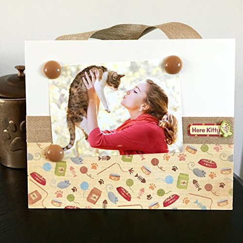 """Here Kitty Cat Lover jeweled taupe classic paw prints gift handmade magnetic picture frame holds 5"""" x 7"""" photo 9"""" x 11"""" - Lifelong Products Metal"""
