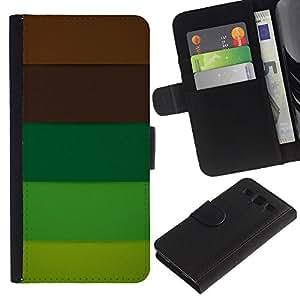 Billetera de Cuero Caso Titular de la tarjeta Carcasa Funda para Samsung Galaxy S3 III I9300 / Brown Pastel Palette Tones / STRONG