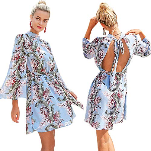 (Epomay Women's Summer Loose Open Back Floral Printed Bell Sleeve Dresses Knee Length Swing Mini Backless Blue Dress (Light Blue, X-Large) )