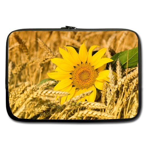 (17 Inch Wheat Field Sunflower Popular Laptop Sleeve 100% Water Resistant Neoprene Notebook Computer Bag Case Cover (Double-sided,No Straps))