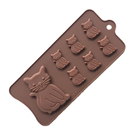 Moldes de silicona con forma de gato para galletas, cubitos de hielo, gelatina,
