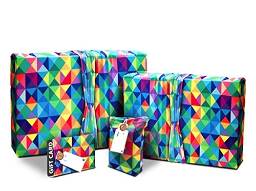 Gift Wrap Set for Birthdays and Special Occasions - Stretchy Fabric, Reusable and Eco Friendly - Multicolor Triangles Wrapping - 4 Items (1 Small, 1 Medium, 2 Gift Card Holders with 2 FREE Gift Tags)