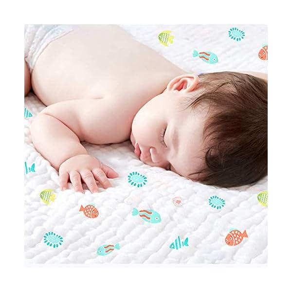 Caiery Copertine in Mussola/Mussole Neonato 110CMx110CM /Asciugamani Bimbo/Baby Bath Towel, 100% Mussola Cotone… 2