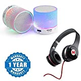 Drumstone Bluetooth LED Light Speaker With Mega Bass Headphone for Android/iOS Devices (Color may vary)