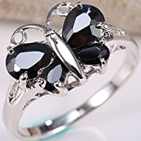 Phetmanee Shop Charming Jewelry Women 925 Silver Black Onyx Butterfly Ring Wedding Jewelry Gift (8)