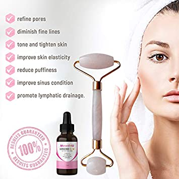 Ageless Duo Rose Quartz Facial Roller and Vitamin C Serum Hyaluronic Acid Vitamin E Anti-Aging Skincare Set Women