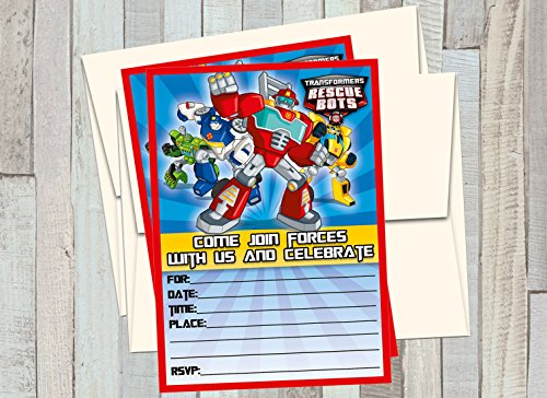 12 Transformers Rescue Bots - Birthday Invitations (12 5x7in Cards, 12 Matching White - Transformers Card Birthday