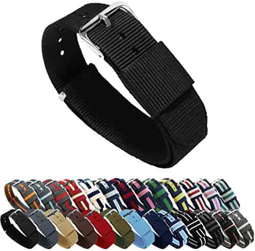 BARTON Watch Bands - Choice of Color, Length & Width (18mm, 20mm, 22mm or 24mm) - Black 18mm - Standard Length