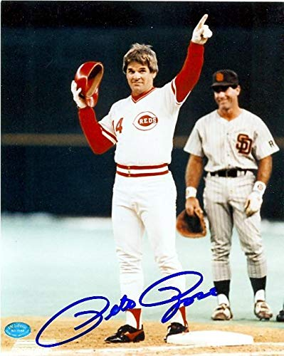 (Signed Pete Rose Photo - 8x10 pictured celebrating becoming Baseballs all time hits leader Image 2 - Autographed MLB Photos)