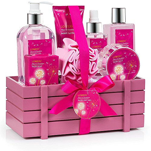 Spa Gift Basket - Flower & Dandelion Fragrance - Luxurious 8 Piece Bath & Body Set For Women & Men , Contains Shower Gel, Bubble Bath, Body Lotion, Body Mist, Soap, Bath Salt, Bath Pouf & Wood Basket