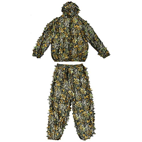 gLoaSublim Camouflage Clothes Set,3D Maple Leaf Jungle Forest Sniper Training Hunting Camouflage Top Pants Set Halloween Cosplay Costume]()