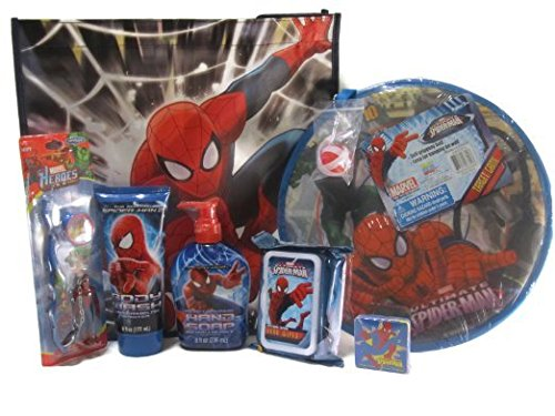 Spider-man Bath Time Fun Bundle - Body Wash, Hand Soap, Anti-bacterial Hand Wipes, Toothbrush Travel Kit, Magic Grow Towel, Tote Bag and Target Game (7 Items)