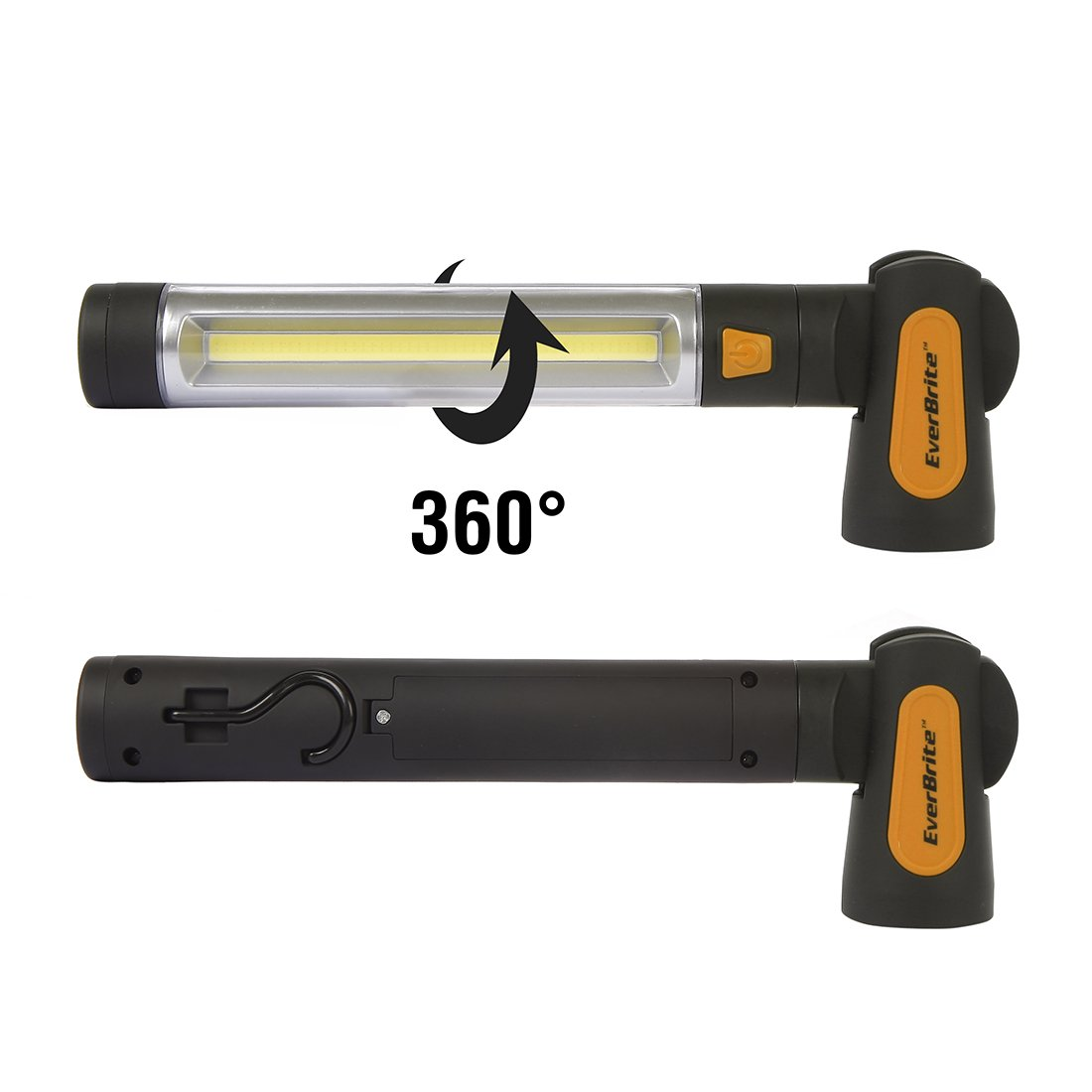 EverBrite Work Light 3-pack 150 Lumens COB Handheld Portable Jobsite Flashlights with Hanging Hook and Magnetic Base AA Alkaline Batteries Included