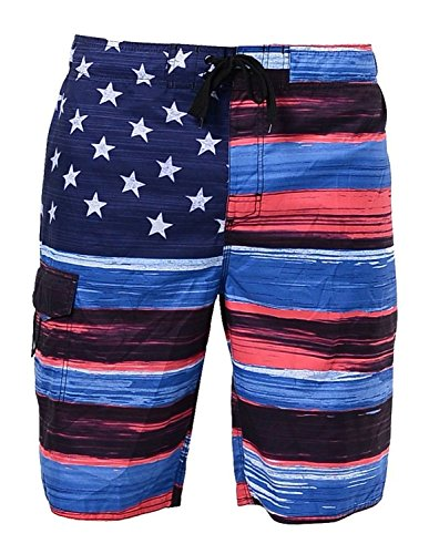 US Apparel Men's American Flag Inspired Board Shorts, Denim, L