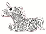 iscream Color Me! Unicorn Shaped 25.5'' x 17.5'' Coloring Pillow with 6 Fabric Markers in Pocket