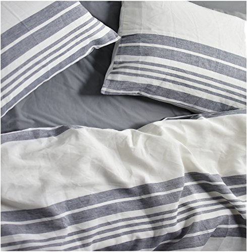 Tahari Stonewashed 100-percent Linen Duvet Quilt Cover Pure Genuine Soft Washed Flax Elegant 3 Piece Luxe Bedding Set Yarn Dyed Natural Tan Taupe Cream (King, Grey Navy)