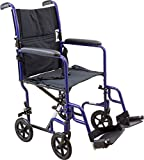 Roscoe Medical KT19BL Steel Transport Wheelchair with 19'' Seat, Blue