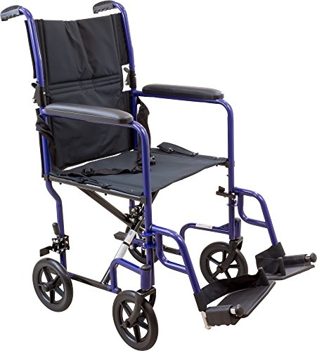 Roscoe Medical KT19BL Steel Transport Wheelchair with 19'' Seat, Blue by Roscoe Medical