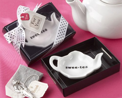 ''Sweet-Tea'' Ceramic Tea-Bag Caddy in Black & White Serving-Tray Gift Box - Baby Shower Gifts & Wedding Favors (Set of 12) by Kate Aspen