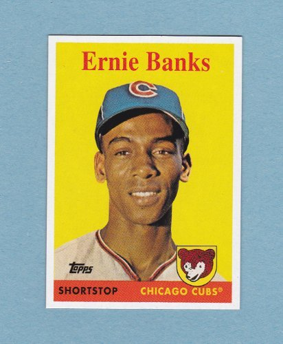Ernie Banks 1958 Topps Baseball Reprint Card W  Original Back  From 2008 National Convention   Cubs