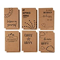 Kraft Notebook Bulk - 12-Pack Lined Pocket Notebook, Travel Journal Set for Diary, and Notes, 6 Different Happiness Designs, Soft Cover, 80 Pages, Brown, A6, 4.1 x 5.8 Inches