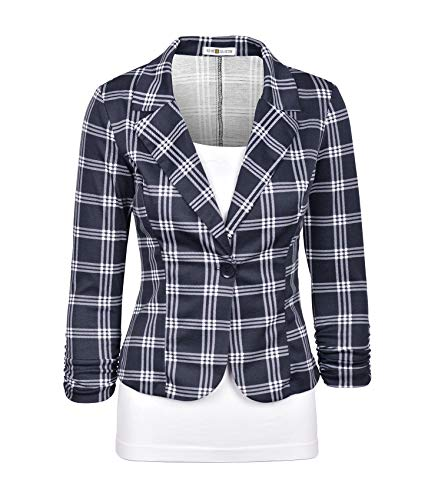 Auliné Collection Women's Casual Work Solid Color Knit Blazer Navy Checker Large