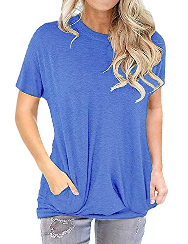 - Women Casual Long Sleeve Round Neck Shirts Loose Pockets Pullover Blouse Tunic Tops Blue Short XL