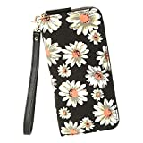 Women Wallet Large Capacity Zipper Purse Clutch Bag Bohemian Card Holder (Daisy)