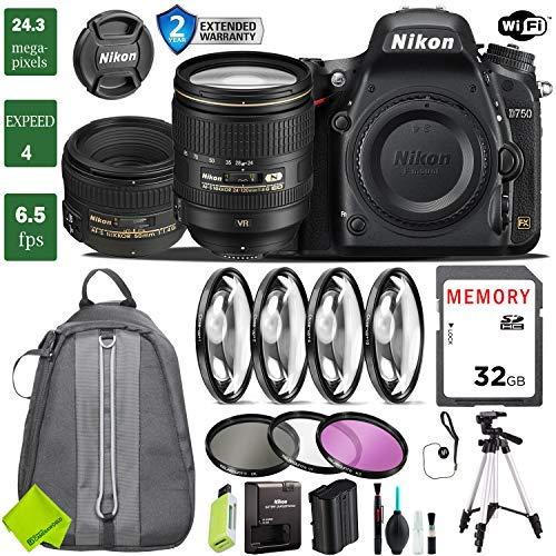 Nikon D750 DSLR Full Frame Camera with 24-120mm VR Lens & 50mm f/1.4G Lens + 4 Piece Macro Close-Up Set + 3PC Filter Kit (UV FLD CPL) + Tripod + Backpack + 2 Year Extended Warranty (Camera Nikon Cheapest)